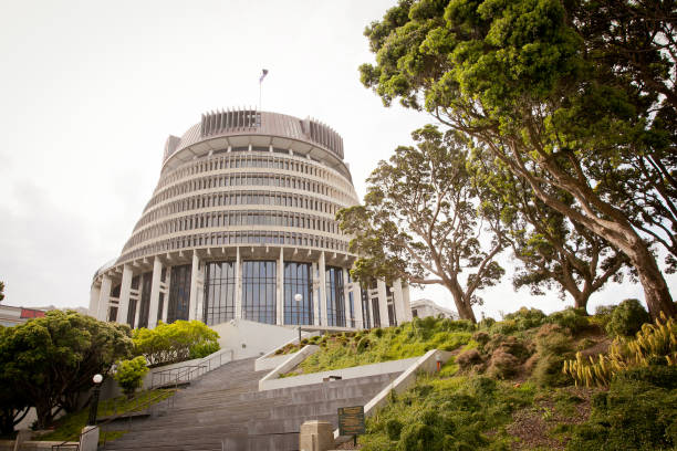 The Beehive Wellington. New Zealand Government Parliament Building WELLINGTON, NEW ZEALAND - DECEMBER 27, 2016: The Beehive New Zealand Government Parliament Building site proud overlooking the city. wellington new zealand stock pictures, royalty-free photos & images