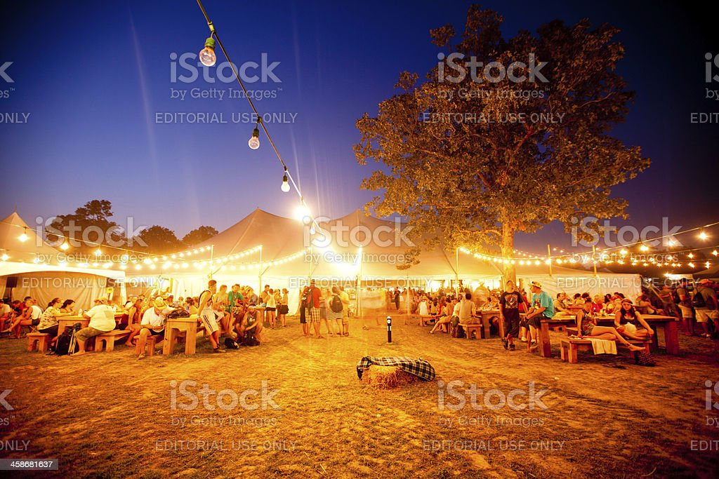 The Beer Garden at Bonnaroo stock photo