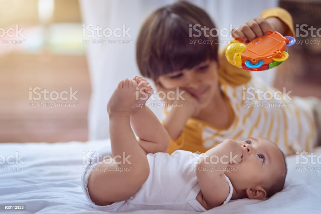 The beginning of that brotherly bond stock photo