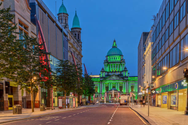 The Belfast City Hall at Donegall Square in Belfast, Northern Ireland at Night stock photo