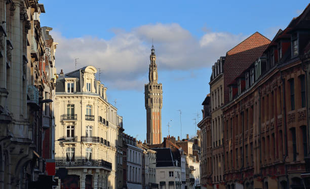 The Belfry of the city hall of Lille, France stock photo