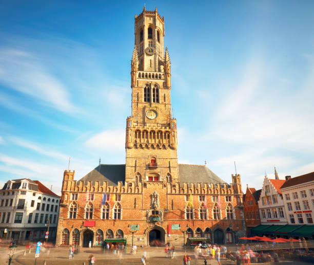 The Belfry Tower of Bruges, or Belfort, Belgium The Belfry Tower of Bruges, or Belfort, Belgium bell tower tower stock pictures, royalty-free photos & images