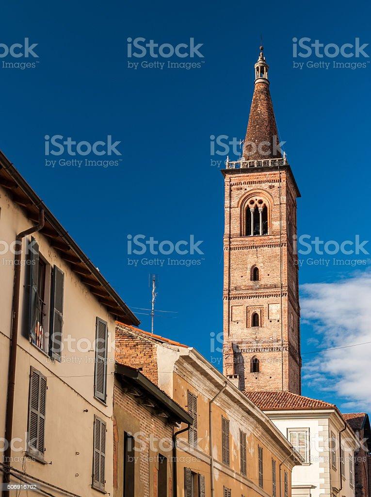The bell tower of church 'Santa Maria del Carmine' (Pavia) stock photo