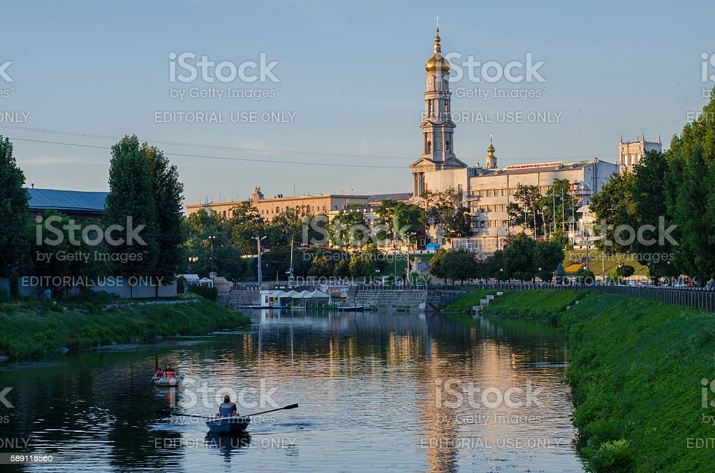 The bell tower of the Assumption Cathedral (Uspenskiy Sobor) stock photo