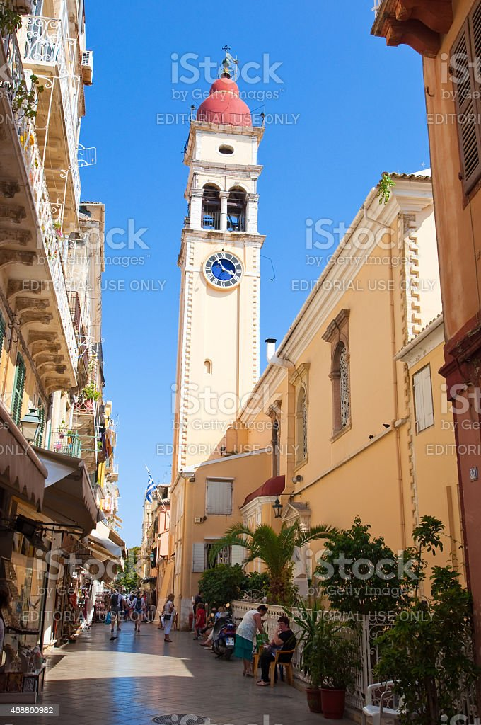 The bell tower of the Saint Spyridon Church, Kerkyra. stock photo