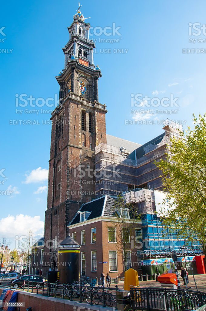 The bell tower of the Westerkerk seen from the Prinsengracht. stock photo