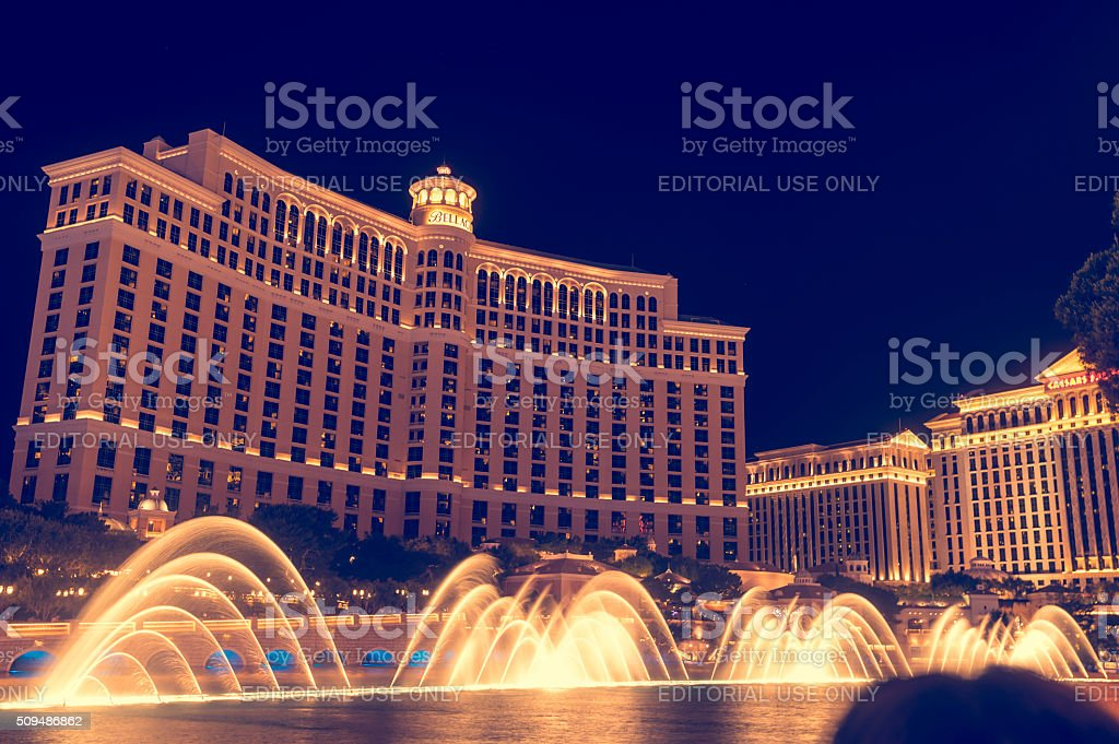 The Bellagio fountain at night. stock photo