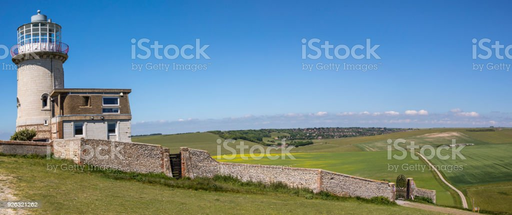 The Belle Tout Lighthouse in East Sussex, UK. stock photo