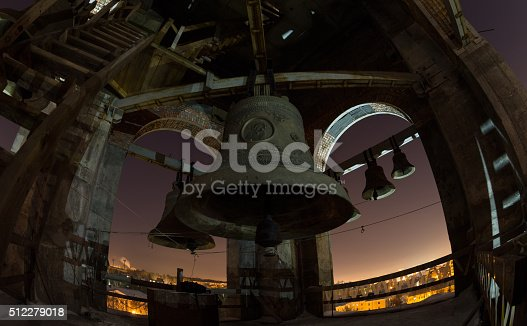 istock The bells and belfry, night view at the full moon 512279018