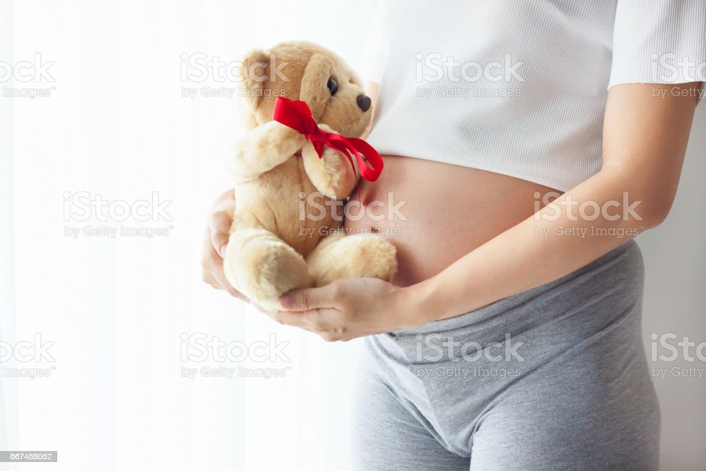 The belly asia pregnant woman holding a teddy bear doll - foto de acervo