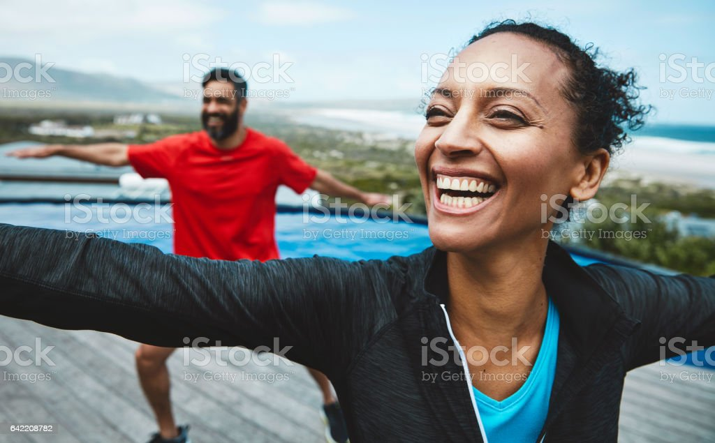 The bench mark for healthy is the ability to relax stock photo