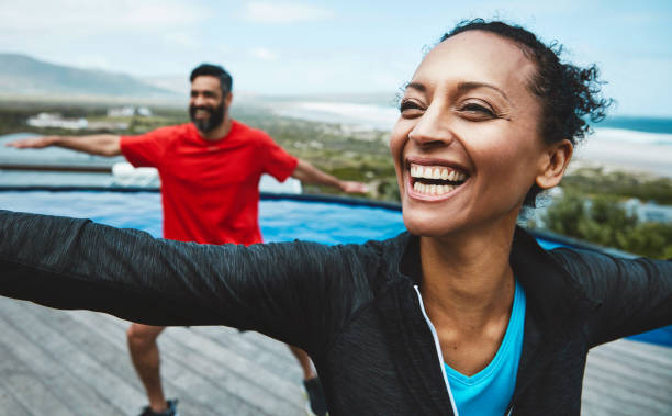 the bench mark for healthy is the ability to relax - active lifestyle stock photos and pictures