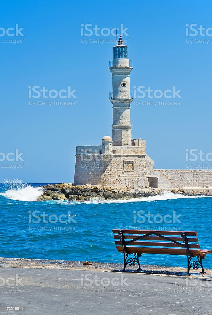 Miraculous The Bench With A View On The Medieval Lighthouse Stock Photo Machost Co Dining Chair Design Ideas Machostcouk