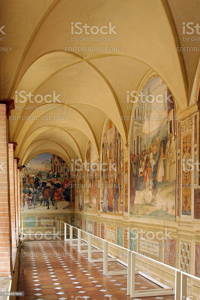 The Benedictine Monte Oliveto Abbey in Tuscany, Italy stock photo
