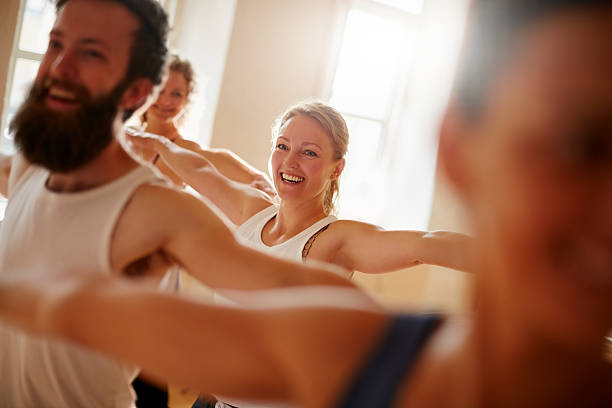 The benefits of yoga can be tremendous stock photo
