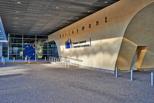 The Berlaymont building entrance stock photo