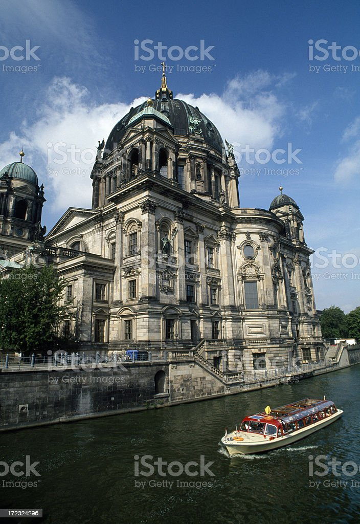 The Berlin Cathedral under a cloudy sky, Berlin, Germany royalty-free stock photo