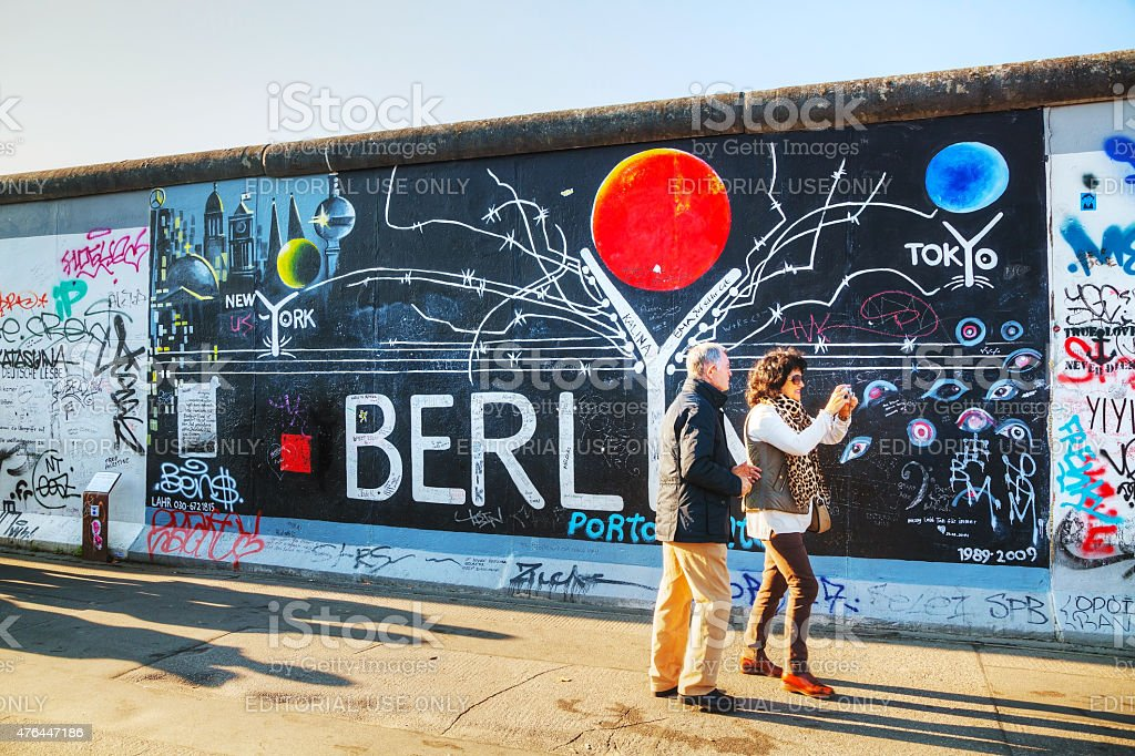 The Berlin wall (Berliner Mauer) with grafitti stock photo