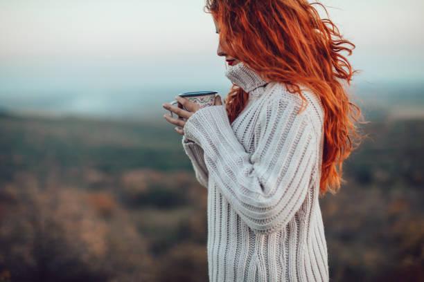 o máximo de conforto em um dia frio - chá bebida quente - fotografias e filmes do acervo