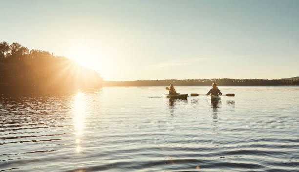 The best days are spent kayaking stock photo