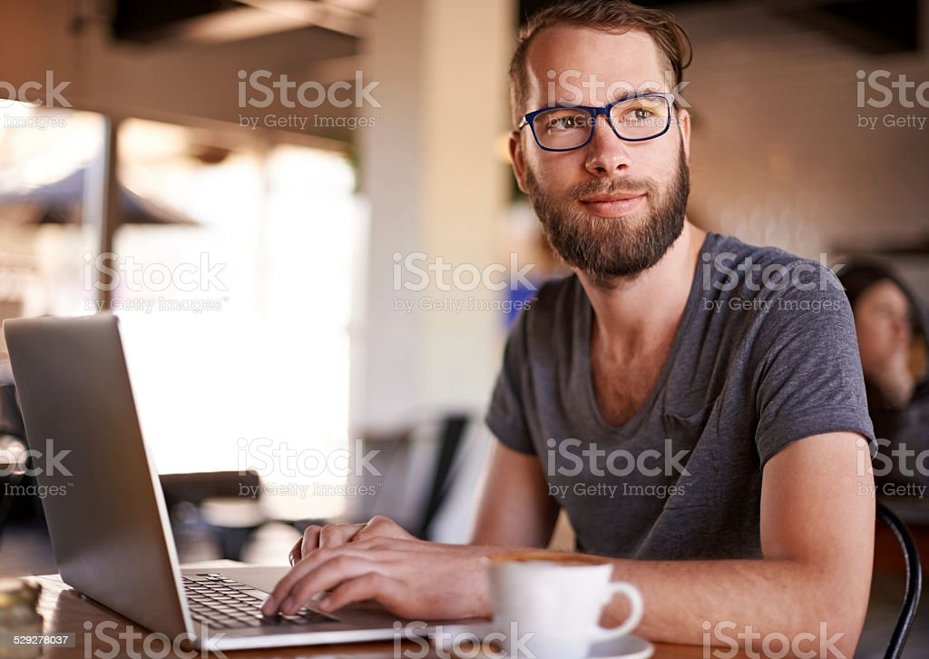 The best ideas come to him when he's relaxed stock photo