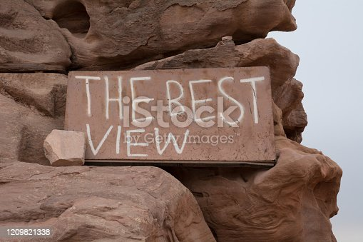The Best view location position inscription sign