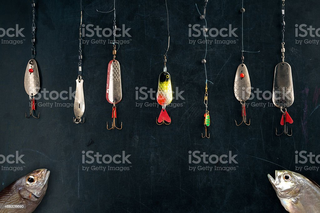 the best lure hang on chalk board stock photo