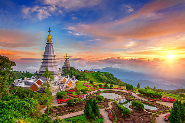 The best of landscape in Chiang mai. Inthanon mountain. stock photo