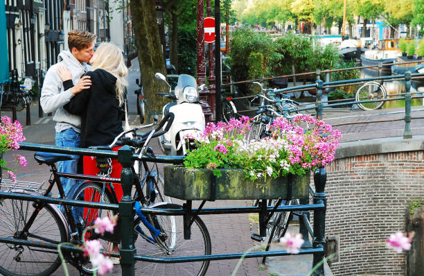 The best place for a romantic kiss. stock photo
