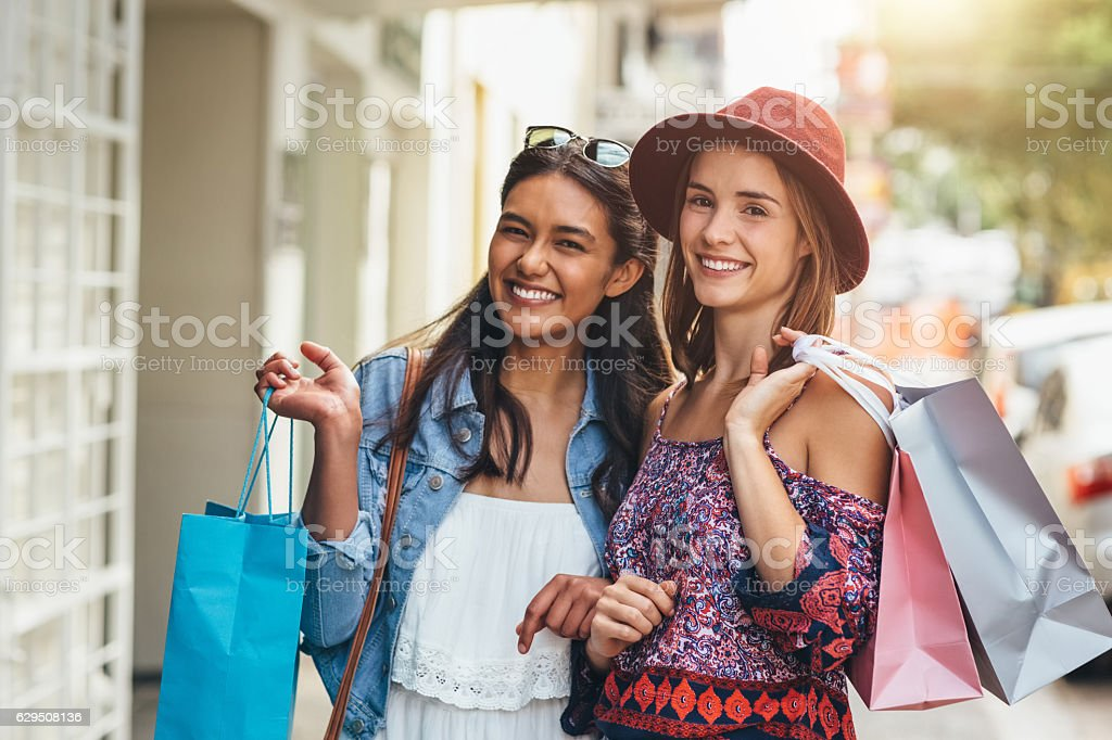 The best shopping sprees are had with your best friend stock photo