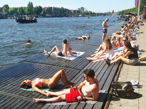 The best spot to swim in Amsterdam stock photo
