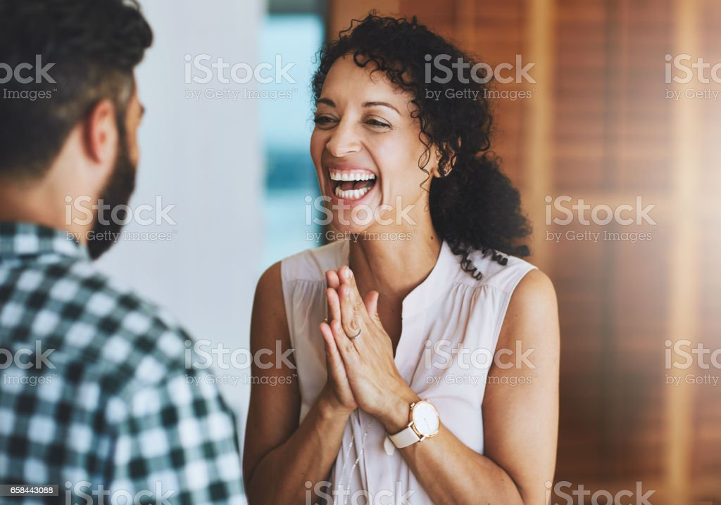 The best thing just happened! stock photo