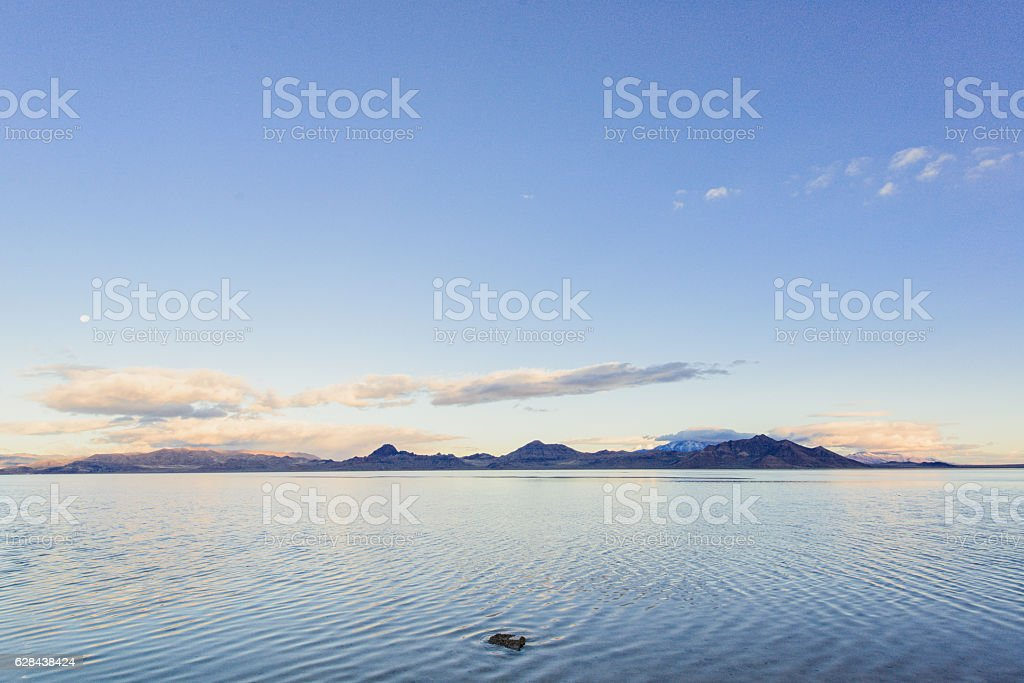 The best view lake with sun and moon stock photo
