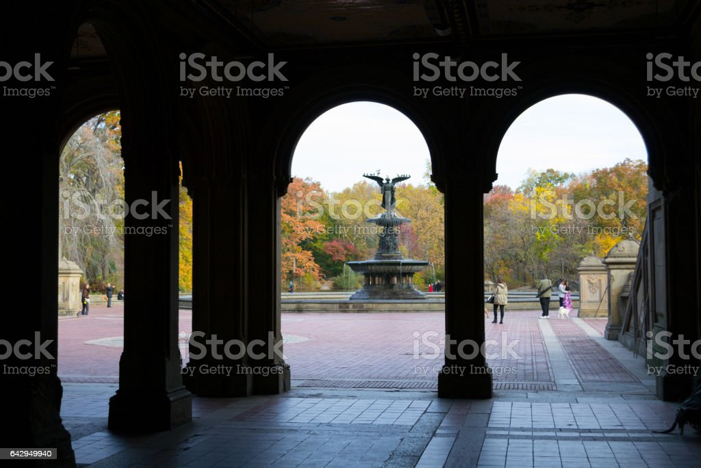 The Bethesda fountain in central Park during the fall season stock photo