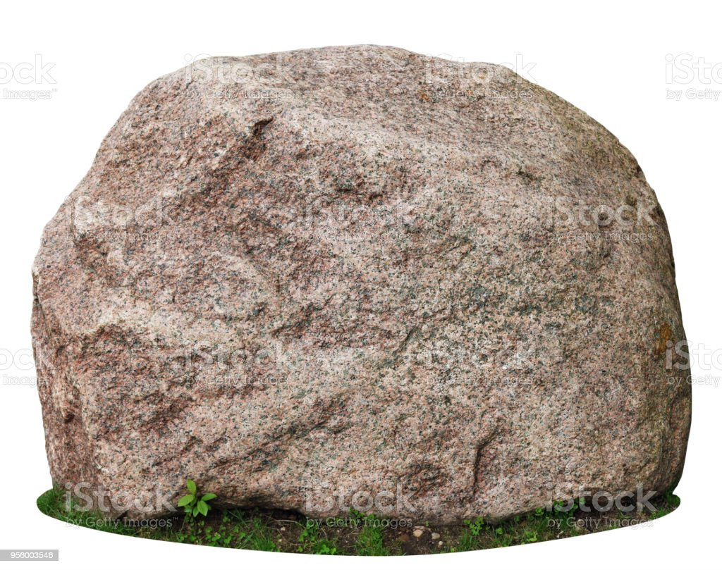 The big ancient mossy granite stone lie on a forest green grass glade. royalty-free stock photo
