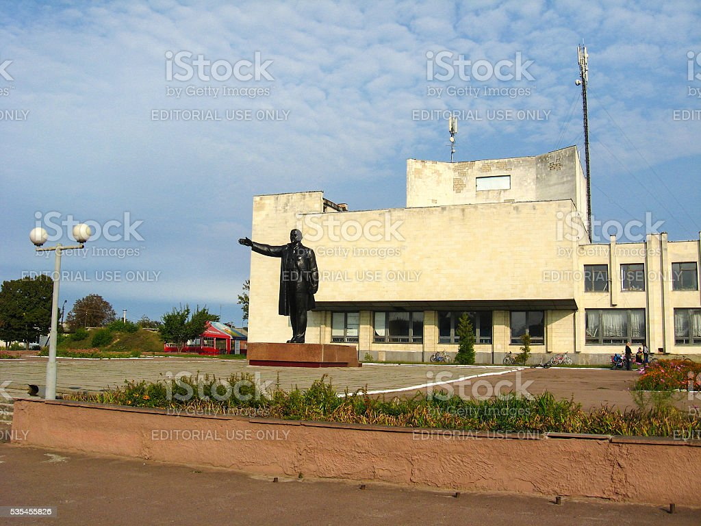 The big and black monument to Lenin stock photo