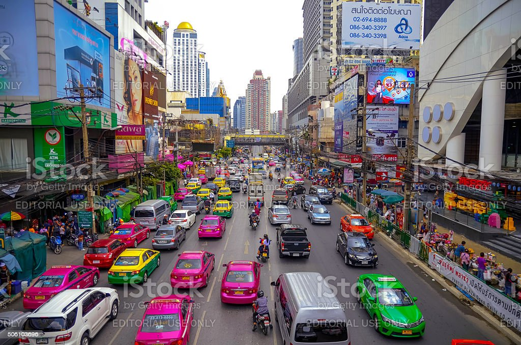 The big automobile stopper on one of the central streets of Bangkok stock photo