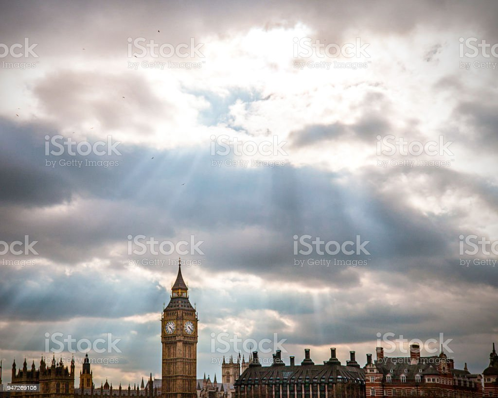 The Big Ben and the Palace of Wesminster in the sunbeam stock photo