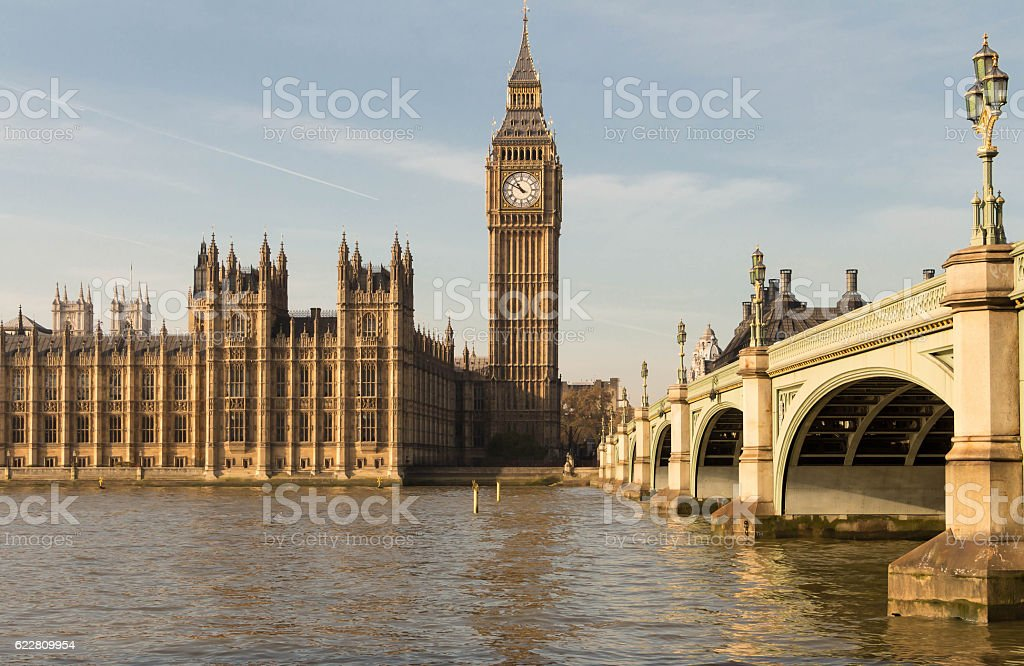 The Big Ben and Westminster bridge , England, UK. stock photo