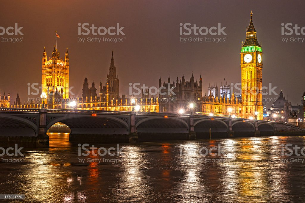 The Big Ben at night, London, UK. royalty-free stock photo