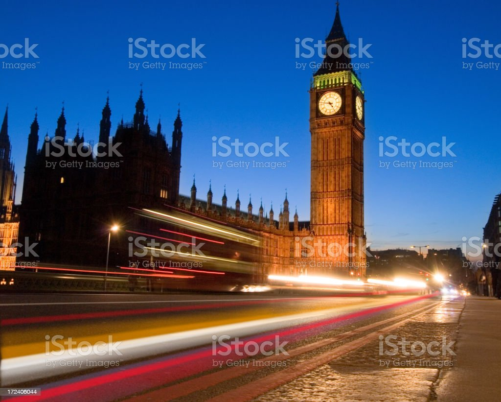 The  big Ben clock tower at dusk royalty-free stock photo