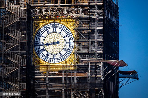 istock The Big Ben clock tower restored with dials and clock hands repainted Prussian blue 1339147447