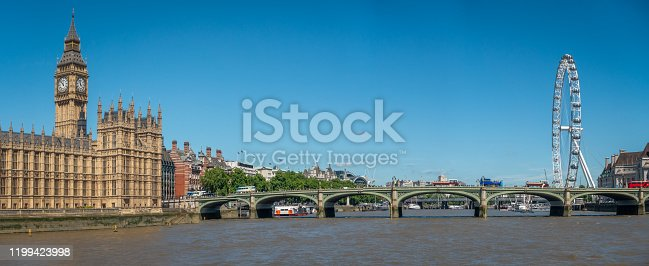 The Big Ben in London and the House of Parliament in front of Thames river