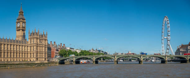 The Big Ben in London and the House of Parliament in front of Thames river stock photo