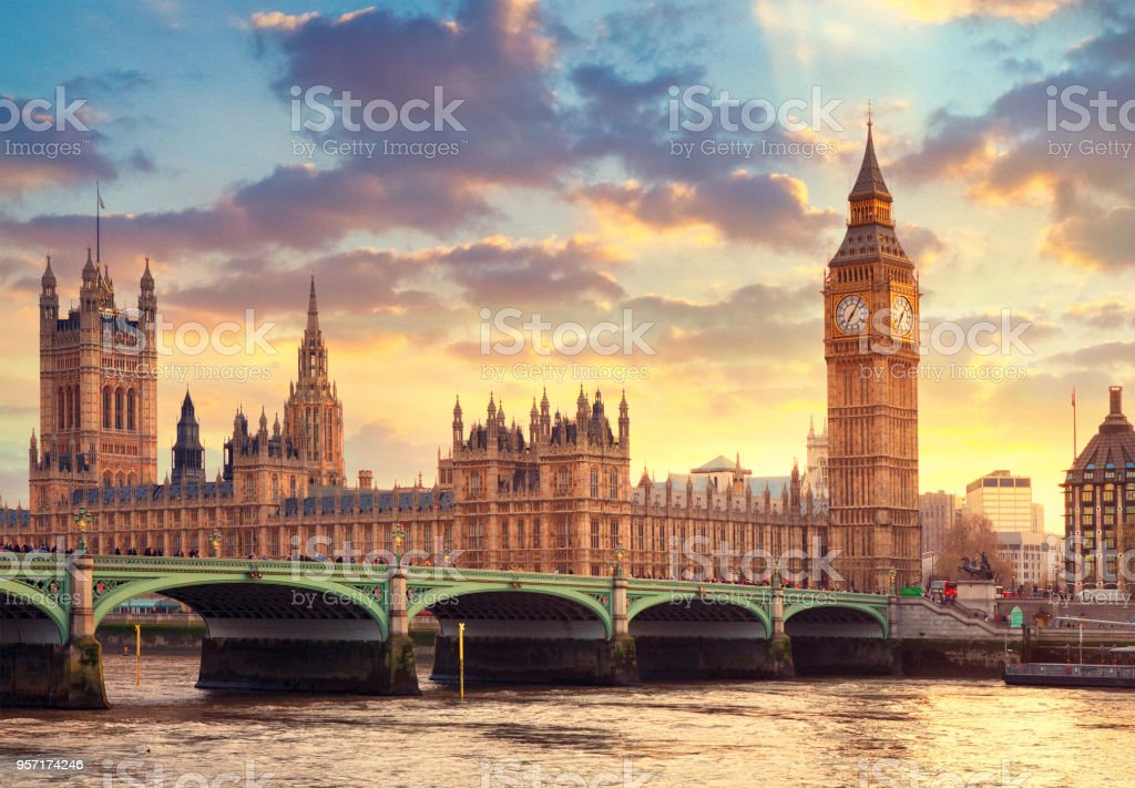 The Big Ben in London and the House of Parliament stock photo