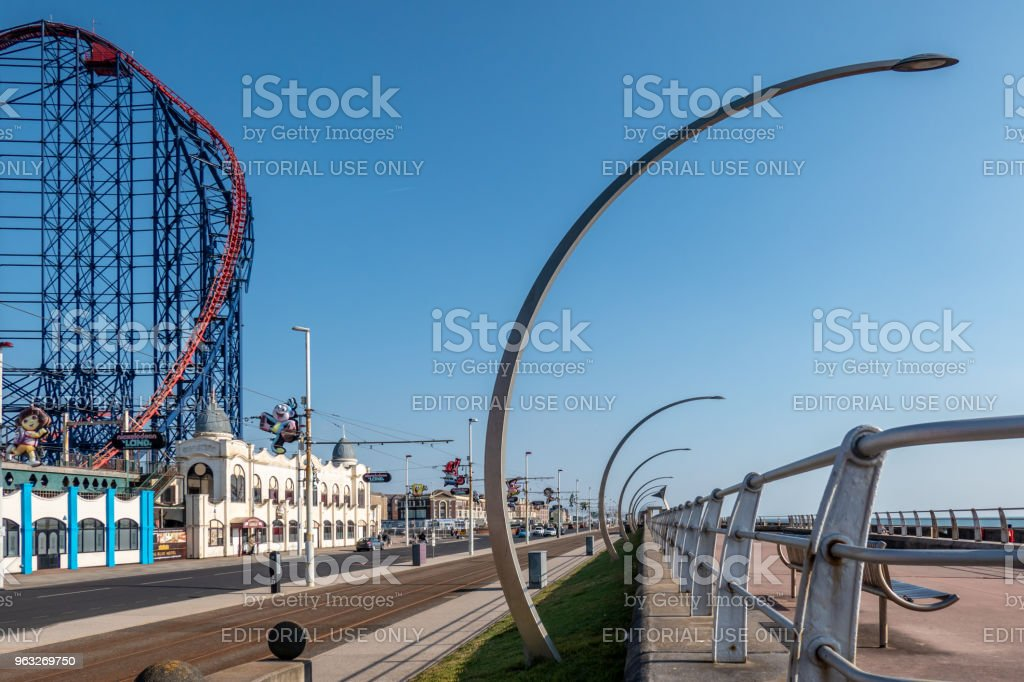 The Big One rollercoaster with tram lines in Blackpool stock photo