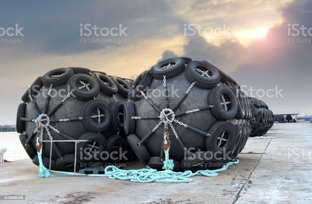 The big ship protection rubber float buoy. stock photo