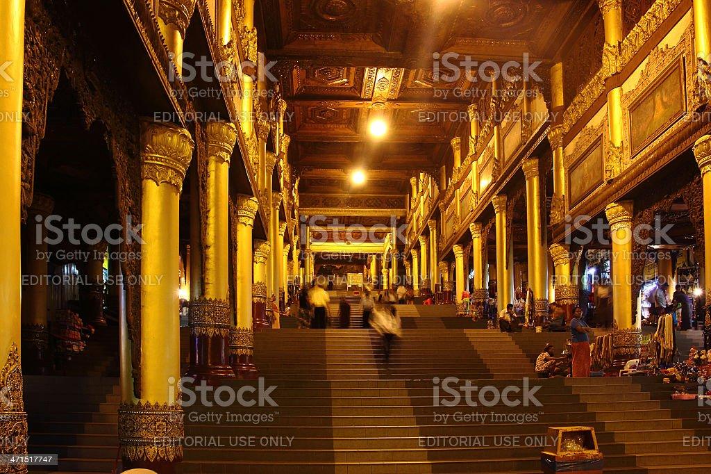 the big staicase to Shwedagon pagoda_Yangon royalty-free stock photo
