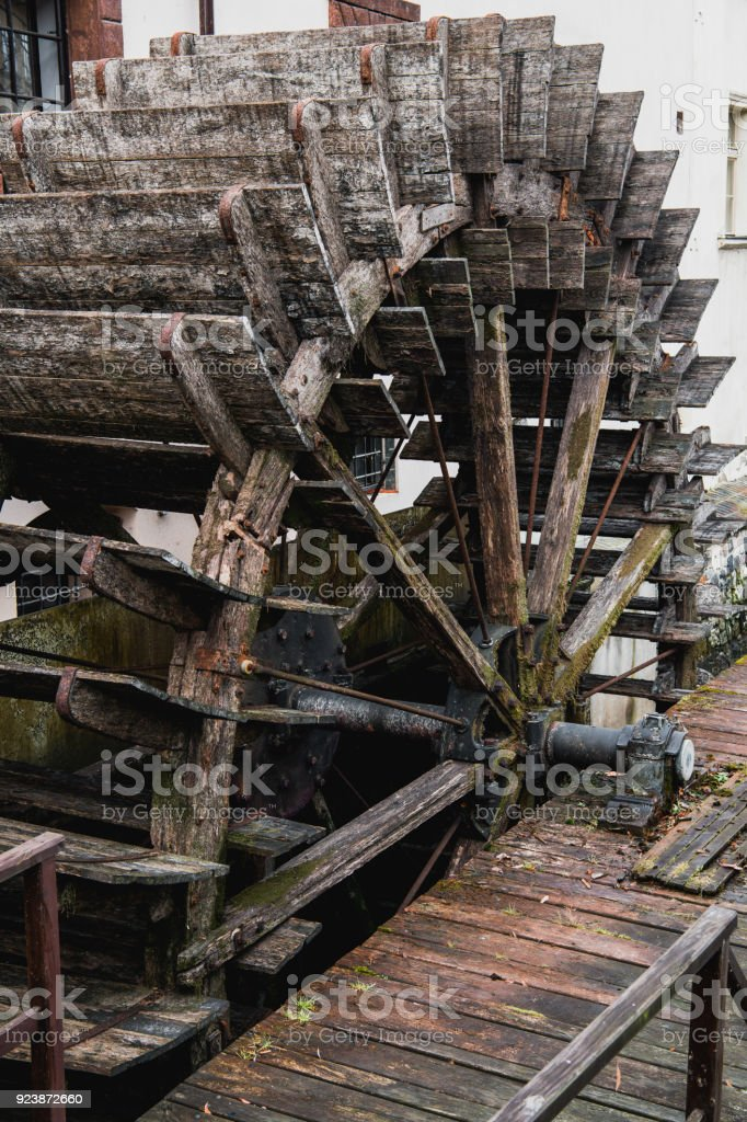 The big wheel of the old water mill stock photo