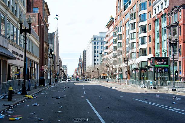 the biggest crime scene in boston history - boston marathon stock photos and pictures